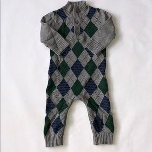 Baby Gap Argyle Cable Knit Cotton Sweater Bodysuit